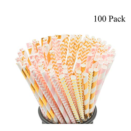 Biodegradable Paper Straws, 100 Pink Straws/Gold Straws for Party Supplies, Birthday, Wedding, Bridal/Baby Shower Decorations and Holiday Celebrations ()