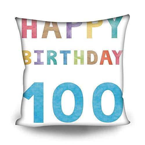 YOLIYANA Pillowcase with Pattern 100th Birthday Decorations Home Sofa Decoration Pillowcase with Pattern 16×16 Inches