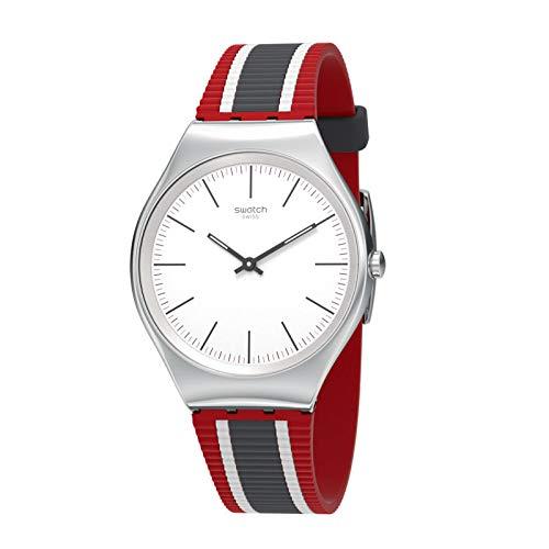 Mujer Para Cuarzo Reloj Analógico Silicona De Con Swatch Correa En 76gYfby