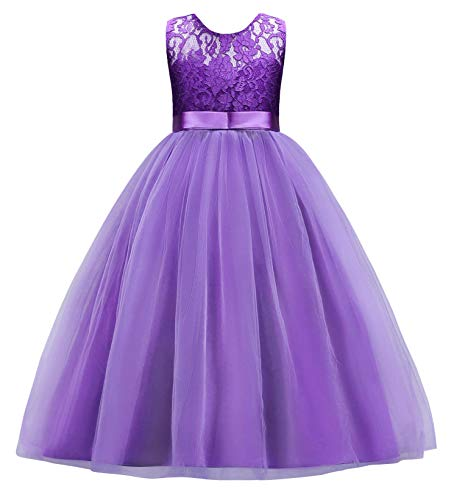 Jurebecia Girls Lace Wedding Dresses Flower Girls Pageant Party Gowns Purple Size 6