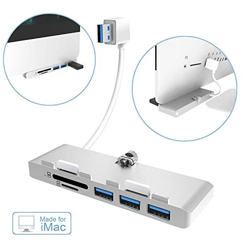 Ultra-thin USB 3.0 Hub with 2-Slot Card Reader Exclusively For iMac Slim Unibody, Alcey Premium Aluminum USB 3.0 3-Port Hub and SD/TF/Micro SD Card Reader Combo