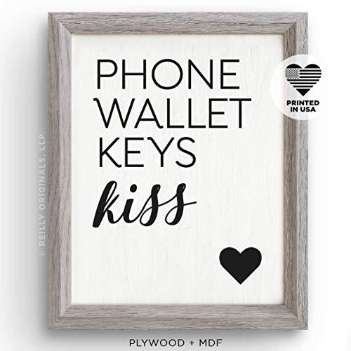 Keys Entry Decor Phone Home Decor Wallet Wood Sign Kiss Sign