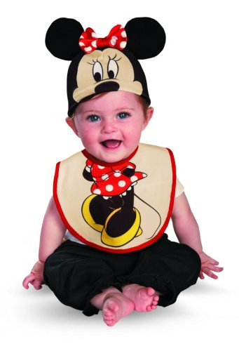 Disguise Costumes Drool Over Me Disney Minnie Mouse Infant Bib and Hat  Accessory, Red/Black/Yellow, 0-6 Months (2 Month Baby Halloween Costume)