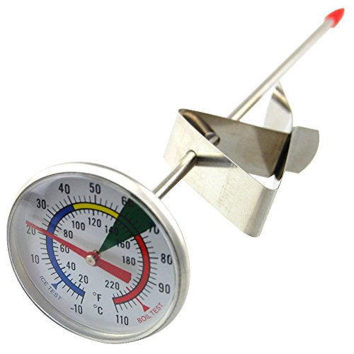 Frothy Milk Thermometer With 175mm Stainless Steel Probe and Clip Barista - Stainless Frothing Thermometer Milk Steel