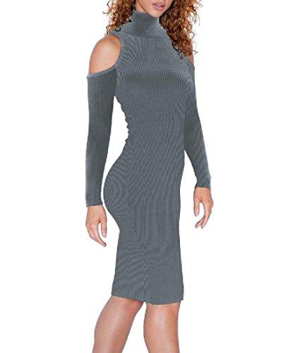 Dress Turtleneck Women Clubwear Coolred Cocktail Dark Pure Color Slim Grey Fit 0xxHdrn8q