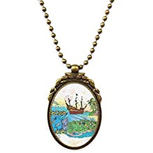 DIYthinker Cancun Mexico Island Mayan Temple Antique Brass Necklace Vintage Pendant Jewelry Deluxe Gift