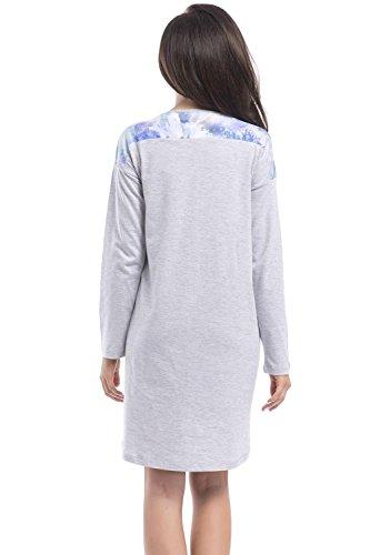 dn-nightwear - Camisón - Manga Larga - para mujer grey aqua