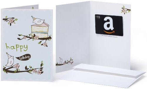 Amazon.com $15 Gift Card in a Greeting Card (Birthday Birds Design)