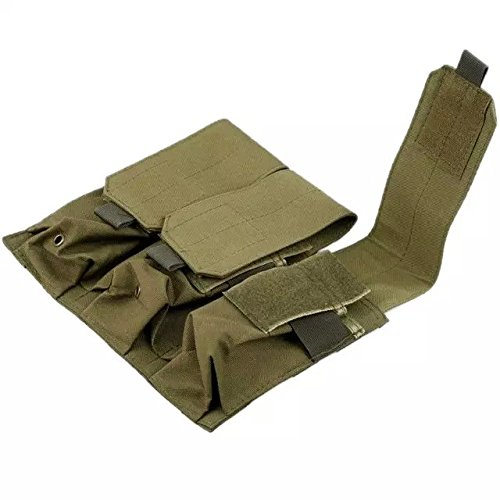 Ezyoutdoor Tactical Military Belt Clip 5.56 .223 Mag Triple Magazine Pouch Holster Kahki color 14x32cm