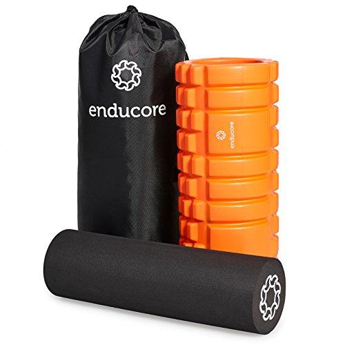 enducore Faszien-Rolle im innovativen 2-in-1 Set - Massagerolle plus Foam Roller für professionelles Faszientraining und Selbstmassage - inkl. Tasche