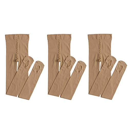 Dancing Kitty 3 Pairs Ultra Soft Convertible Ballet Dance Tights for Girl Caramel 60 Denier 7D51 (Caramel Medium Finish)