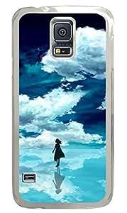 Brian114 Samsung Galaxy S5 Case, S5 Case - High Impact Defender Case for Samsung Galaxy S5 Girl Under Blue Sky Fashion Print Patterns Clear Hard Case for Samsung Galaxy S5 I9600
