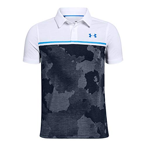 Under Armour Boys' Threadborne Bunker Polo, White (101)/Blue Circuit, Youth X-Large