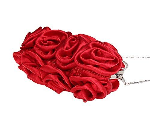 Soyeux Roses Femme Mariage Rouge Soirée de Bal de Fleurs Cabas Pour Sac Cérémonie Tpq5Hxwd