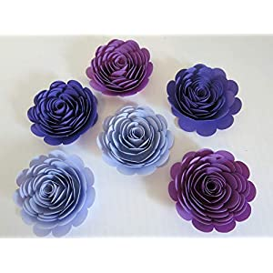 "Purple Ombre Paper Flowers, Big 3"" Roses, Set of 6, Wedding Table Centerpiece, Purple Theme Party Decorations, Bridal Shower Decor, Always In Blossom 95"
