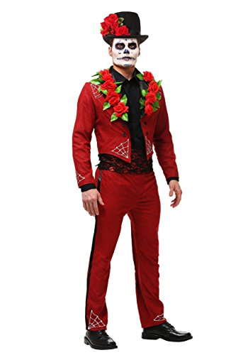 Sugar Skull Halloween Costume Male (Men's Day of The Dead Costume Faux Suede Day of The Dead Suit)
