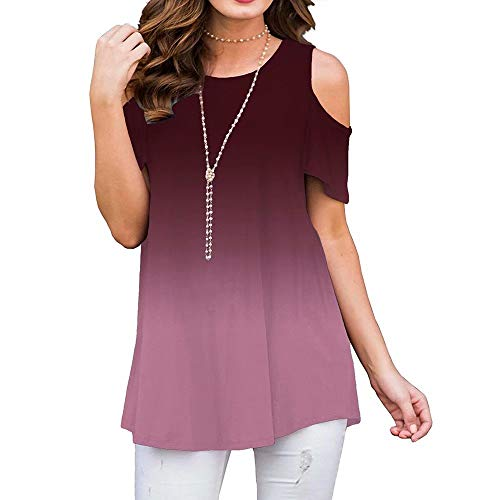 FacnyPrintMe Womens chothing Round Neck Strapless Shoulder eomens Gradient Blank Loose Casual Shirt M Crimson
