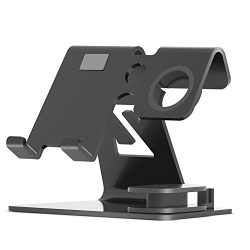 Bosssee Cell Phone Stand Watch Stand Desktop Phone Stand Holder For All Size Smartphone and Tablet (Up To 9.7 Inch) Charging Stands Accessories Desk(Black)