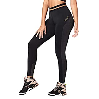 Zumba Dance Workout Wide Jacquard Waistband Leggings for Women, Black B2B, XS