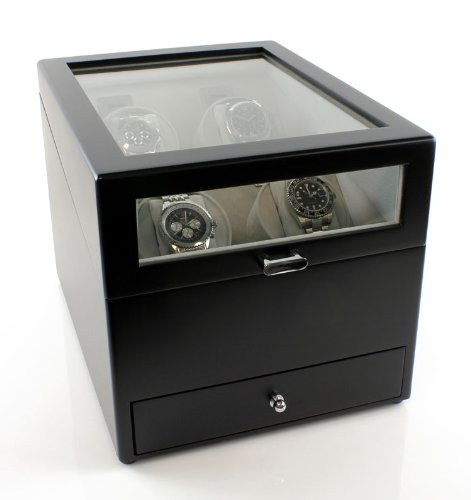 Heiden Grand Quad Watch Winder with Drawer in Black