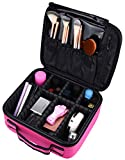 "10"" Professional Portable Travel Makeup Case Cosmetic Bags Organizer Storage Bag Train Case (Rose Red)"
