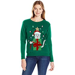 Hanes Women's Ugly Christmas Sweatshirt: Emerald Night/Crazy Catmas