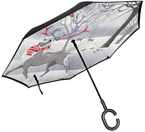 冬の森林トナカイリスは木に座って ユニセックス二重層防水ストレート傘車逆折りたたみ傘C形ハンドル付き