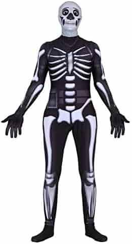 Riekinc Halloween Spandex Zentai Cosplay Costume Skull Trooper Costume Adult/Kids