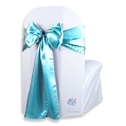 Sparkles Make It Special 100 pcs Satin Chair Cover Bow Sash - Turquoise - Wedding Party Banquet Reception - 28 Colors Available]()