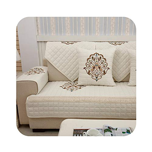 1-Piece Embroidered Slipcovers Sofa Covers Non-Slip Cotton Quilted Corner Sectional Sofa Couch Cover Living Room Sofa Decoration,Creamy White 01,90x70cm 1 Piece