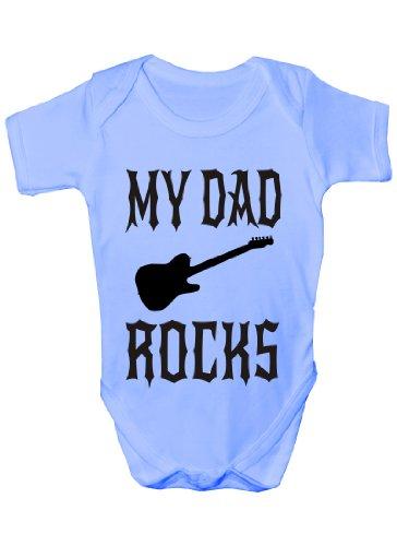 Print4U My Dad Rocks Funny Baby Onsie Sizes 0-18 Months 6-12 blue