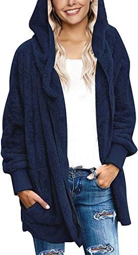 Fasumava Womens Fuzzy Fleece Jacket Solid Open Front Hooded Cardigan Coats Outwear with Pockets