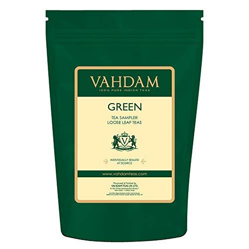 VAHDAM, Green Tea Sampler - 10 TEAS, 50 SERVINGS | 100% NATURAL INGREDIENTS | Detox Tea & Weight Loss | Brew Hot or Iced | Green Tea Loose Leaf | Tea Variety Pack