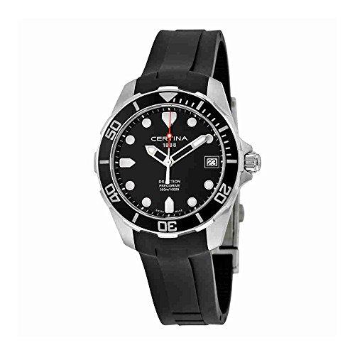 Certina DS Action Black Dial Black Rubber Mens Quartz Watch C0324101705100