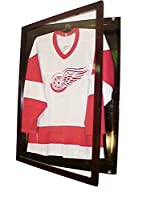 Small Cherry Jersey Display Case Football Basketball Hockey Baseball Jersey Display Case Shadow Box Frame, 98% Uv Protection Door, with Hanger P312C
