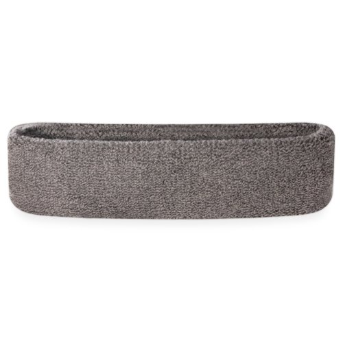 Suddora Head Sweatbands - Athletic Cotton Terry Cloth Headbands for Sports (Grey) (Outfits From The 80s)