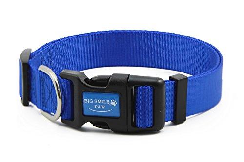 - BIG SMILE PAW Dog Collar Adjustable,Quick Release Nylon Dog Collar (M, Blue)
