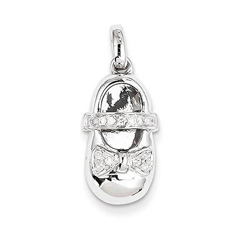 14k White Gold Diamond Baby Girl Shoe Pendant Diamond quality AA (I1 clarity, G-I (Diamond White Gold Baby Bracelets)