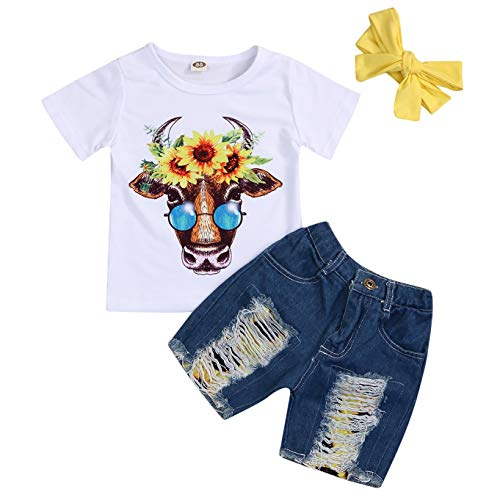 Toddler Girls Sunflower Shorts Set Baby Cartoon Animal Cow Top+Denim Shred Jeans+Headband 3Pcs Summer Outfits (White, 1-2 Years) -