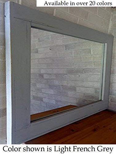 Herringbone Reclaimed Wood Framed Mirror, Available in 3 Sizes and 20 Paint colors: Shown in Light French Gray - Decor for Living Room - Wall Mounted Mirror - Wall Mirror Decor