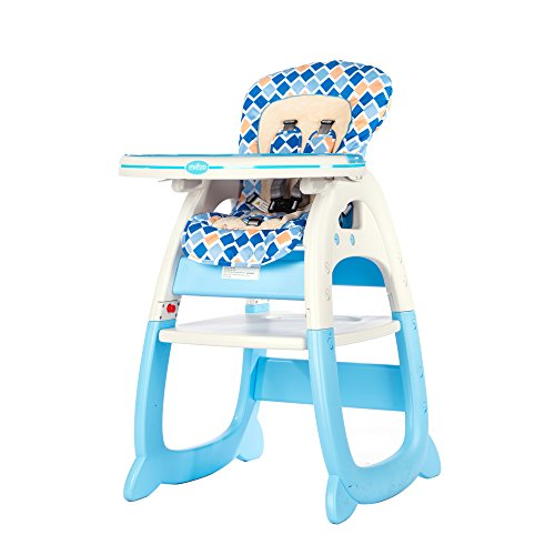 - Evezo 6251A 3-in-1 Baby High Chair, Booster Seat, Desk and Chair Set, Sky Blue