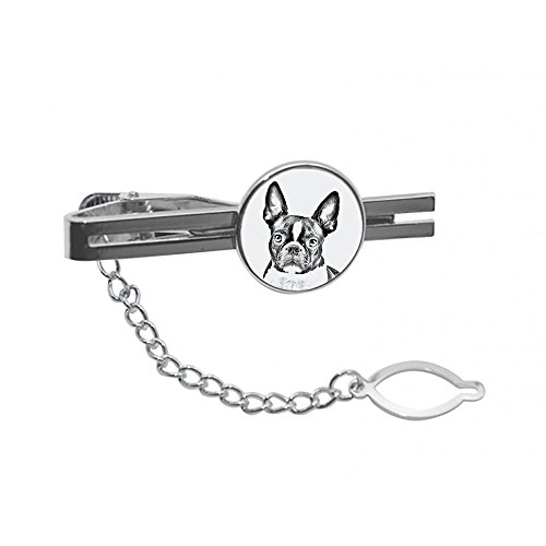 Boston Terrier, tie pin, clip with an image of a dog, elegant and casual style by Art Dog Ltd.
