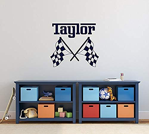 Checkered Flag Decal Personalized Boy Name Wall Decor Crossed Racing Flags Wall Decals for Teens Nursery Boys Room Decor Custom Wall Decal