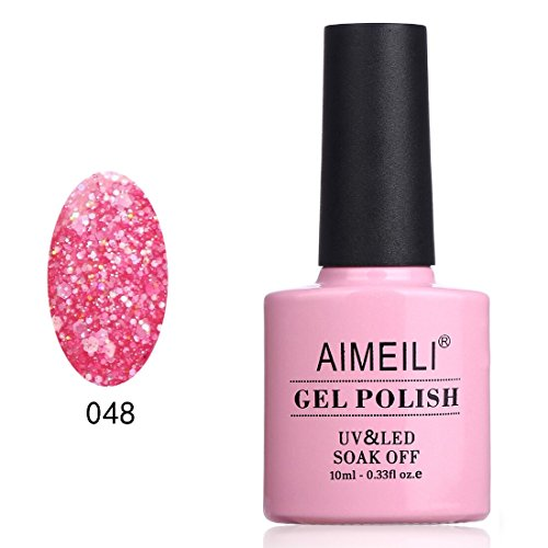 AIMEILI Soak Off UV LED Gel Nail Polish - Daddy's Girl (048) Glitter 10ml]()