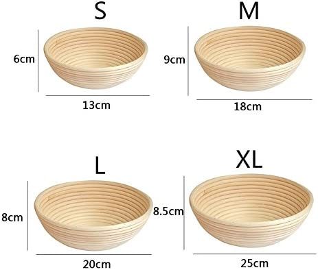 Household Natural Rattan Bread Fermentation Basket Round Handmade Bread Basket