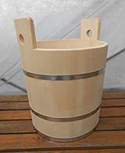 Wooden Small Tub Pail Bucket Wood Canister w/ Metal Bands 36 Liter 9.6 Gallon