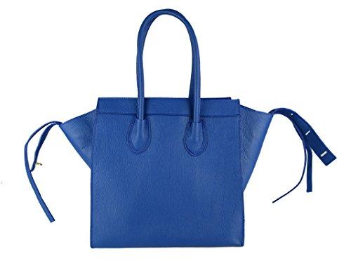 Borsa da donna vera pelle Made in Italy FG Celin blu marino