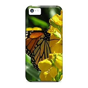 LJF phone case Slim Fit Tpu Protector Shock Absorbent Bumper Beautiful Colorful Butterflies Case For Iphone 5c