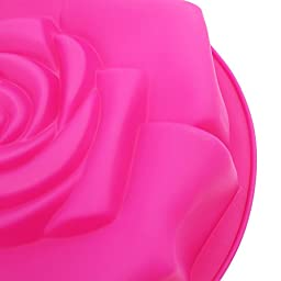 Hippih 1 X 9'' Rose Shaped Bread Pie Flan Tart Birthday Party Cake Silicone Mold Chocolate Bakeware Decorating Dessert Bundt Pan (Red Rose)