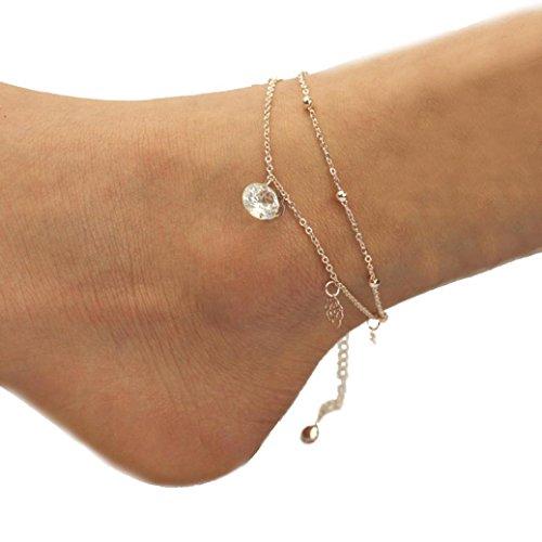 Sheer Bare Set (Sinfu Anklet For 1 PC Fashion Women Rose Anklet Bracelet Sandal Barefoot Beach Foot Jewelry Charm Ankle Bracelets (Length: 20cm/7.88